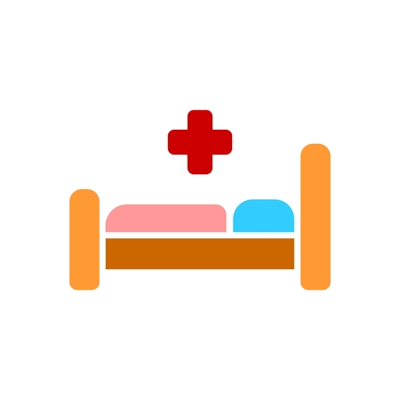 Hospital bed icon. Medecine symbol. Flat Vector illustration