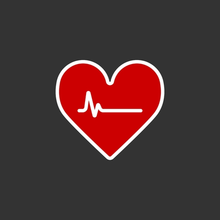 Heartbeat Line Heart Cardio. Heart flat solid vector icon.