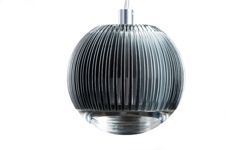 chandelier background: Circle metal gray hanging lamp isolated on white. Modern designer lamp for interiors.