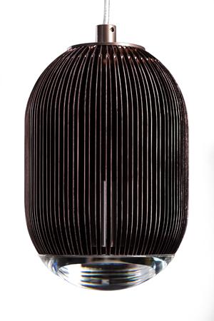 chandelier background: elliptic metal brown hanging lamp isolated on white. Modern designer lamp for interiors.