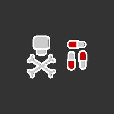 Dangerous pills vector icon. . Eps 10