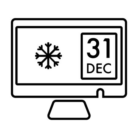 Calendar icon 31 of December isolated on white background. Calendar on pc screen in flat style for New Year's eve, vector. Outline illustration.