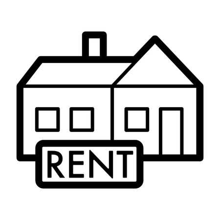 Rent symbol simple vector icon. Black and white illustration of rent Nameplate. Outline linear real estate icon. eps 10