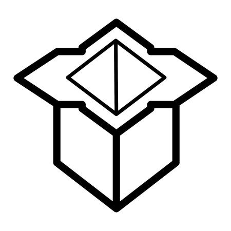 Shipping box simple vector icon. Black and white illustration of carton box. Outline linear icon. Ilustração