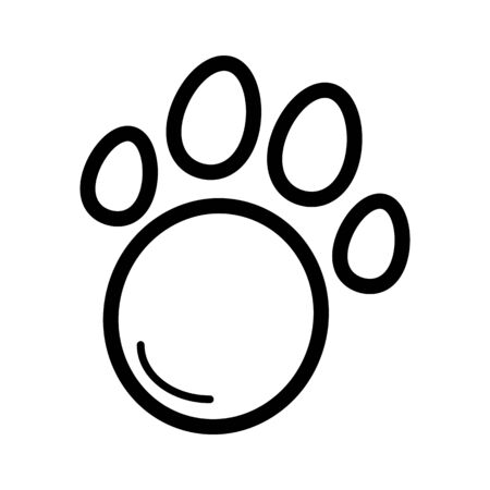 Pet paw simple vector icon. Black and white illustration of animal paw. Outline linear icon. eps 10 Illustration