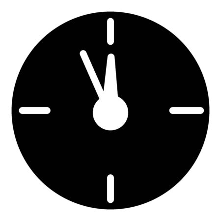 12 oclock Christmas New Year Flat Icon On White Background. Christmass time vector icon. Clock linear solid icon.