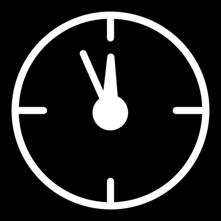 12 oclock Christmas New Year Flat Icon On Black Background. Christmass time vector icon. Clock linear contour icon.