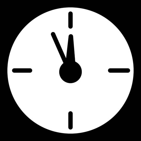 Twelve o'clock Christmas New Year Flat Icon On black Background. Christmas time vector icon. Clock linear solid icon.