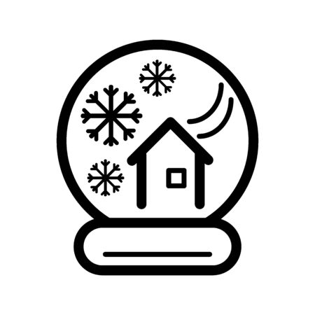 New Year's ball with a house and snow. Vector icon. Linear magic ball isolated. Outline snow globe on white background