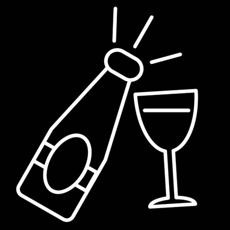 Champagne bottle with glass line icon on black background. New year symbol. Outline icon of Champagne.
