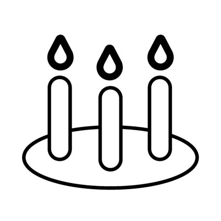 Festive cake with candles line icon, outline vector sign, linear style pictogram isolated on white. Event tart symbol, logo illustration.