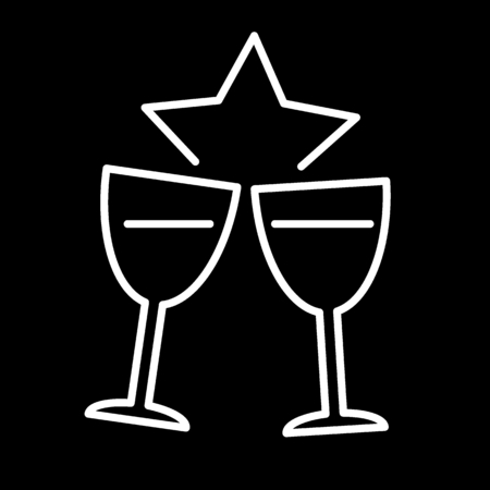 Two glasses of champagne for Merry Christmas and Happy New Year. Black and white vector Illustration. Flat outline icon.
