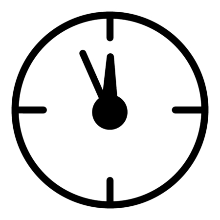12 oclock Christmas New Year Flat Icon On White Background. Christmass time vector icon. Clock linear contour icon.