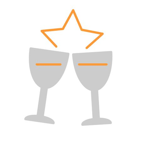 Two glasses of champagne for Merry Christmas and Happy New Year. Color vector Illustration.