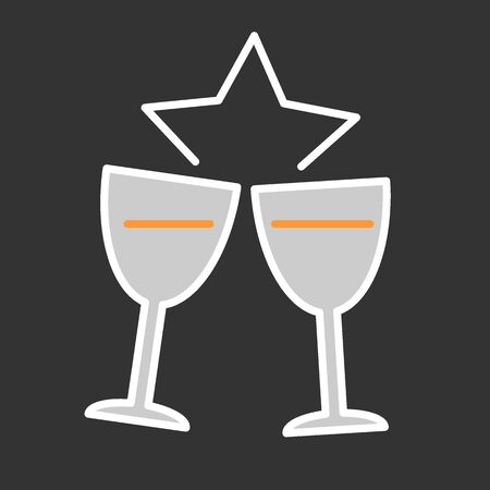 Two glasses of champagne for Merry Christmas and Happy New Year. Color vector Illustration. Flat icon.