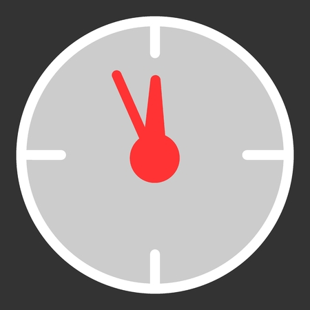 Twelve oclock Christmas New Year Flat Icon On Black Background. Christmass time vector icon. Clock linear colorful icon.