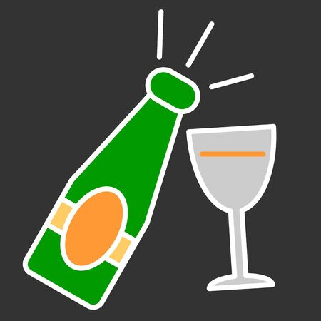 Champagne bottle with glass colorful icon on black background Illustration