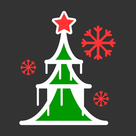 Dressed Christmass tree colorful linear icon. Ilustrace