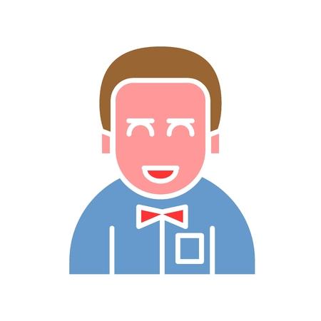 Icône d?avatar masculin adaptée aux informations graphiques, aux sites Web, aux médias imprimés et aux interfaces. Icône de vecteur de ligne. homme avec une cravate. jeune marié. Couleur design Banque d'images - 94148954