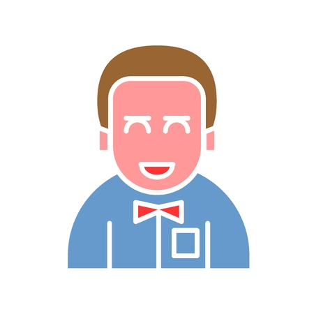Male avatar icon suitable for info graphics, websites and print media and interfaces. Line vector icon. man with a tie. bridegroom. Color design