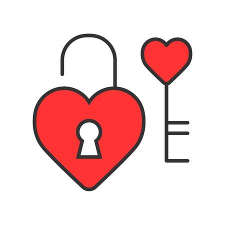 Hartslot met sleutel vectorpictogram. Liefde en Valentine Day-concept Vector Illustratie
