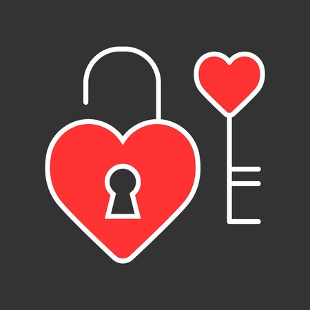Heart lock with key vector icon. Love and Valentine Day concept Illustration