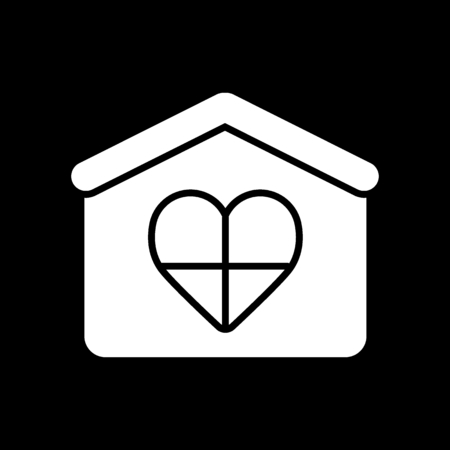 House icon thin line for web and mobile, modern minimalistic flat design. Vector icon on black background. Solid design.