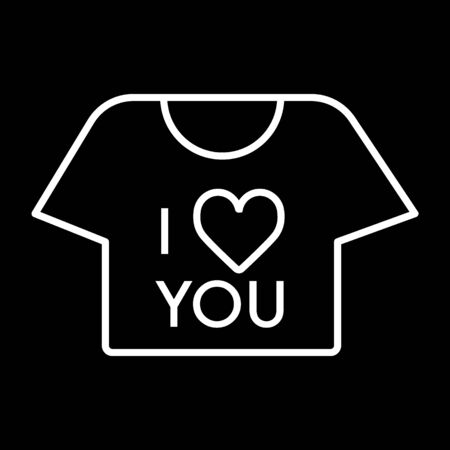 thin line t-shirt icon on black background. T-shirt with the text i love you. Valentine day concept.