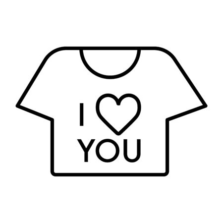 thin line t-shirt icon on white background. T-shirt with the text i love you. Valentine day concept.