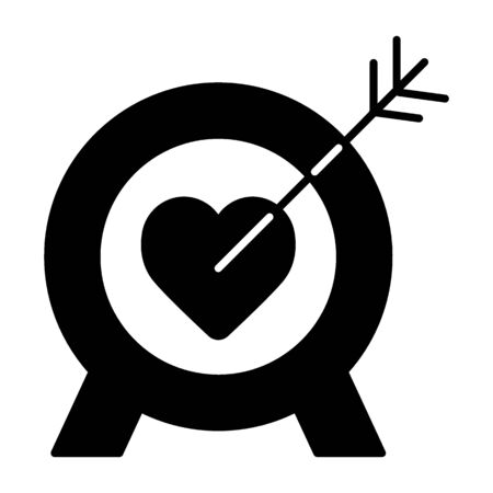 Heart Target Line Icon Solid Vector Sign Linear Style Pictogram