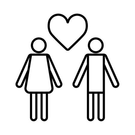 Couple in love with heart icon vector, outline flat pictograph isolated on white. Illustration