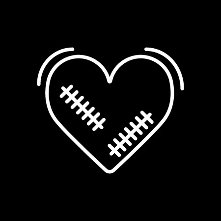 Broken heart vector icon with wound, patches isolated in black background.