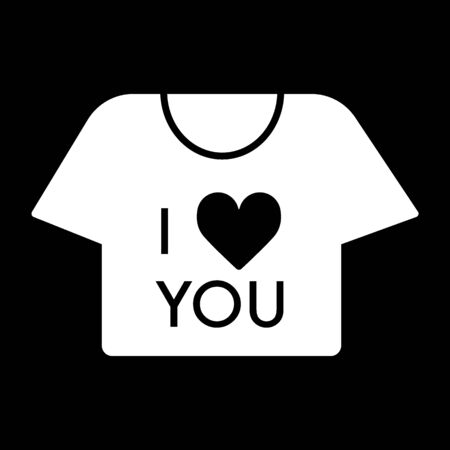 Thin line t-shirt icon on black background. T-shirt with the text I love you, Valentines day concept. Illustration