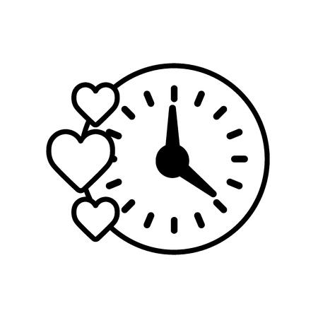 Creative clock heart design. Simple line outline illustration. Isolated on white. Illustration