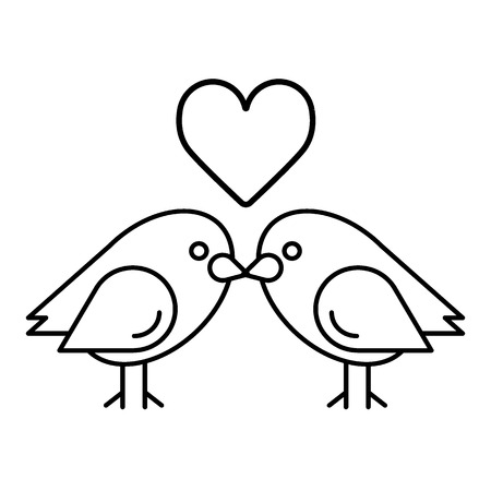 Love birds with heart icon vector, flat sign, outline pictogram isolated on white. Valentine's Day lover bird symbol, logo illustration