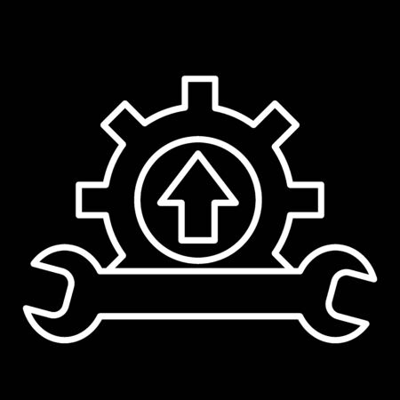 Wrench and gear icon, a symbol of development and customization. Cursor of car service. Flat outline contour vector icon.