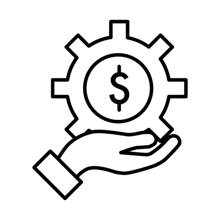 Gear with dollar sign line icon. Price of repair service. Isolated contour icon. Illustration