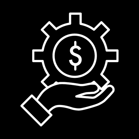 Gear with dollar sign line icon. Price of repair service. Isolated contour icon. Eps 10
