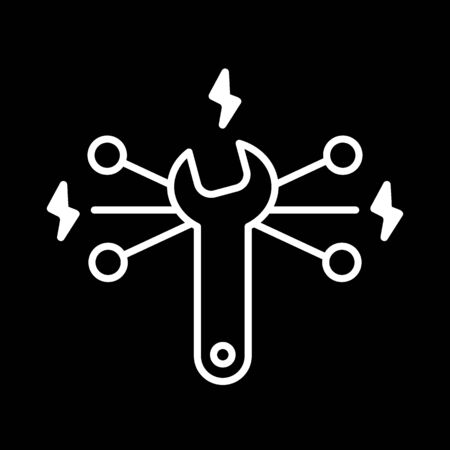 Vector Repair vector Icon. Wrench symbol. Flat contour icon isolated on black. Eps 10