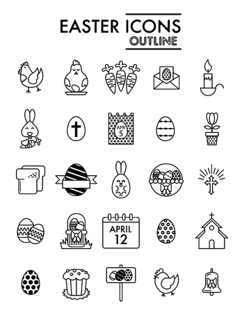 Happy Easter vector Icons Set. Set of Modern Thin linear Outline Icons for Website and Mobile. Eps 10. Black icons on white background.