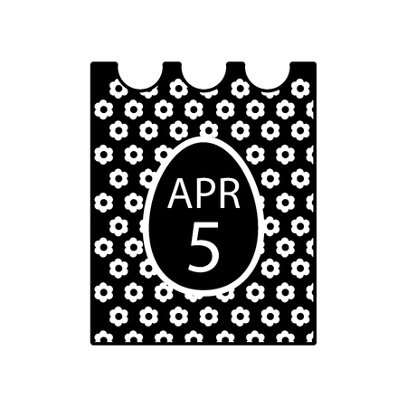 April 5, 2018. Catholic Easter on calendar vector icon. Simple, flat line illustration. Solid design. Illustration