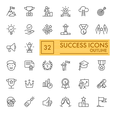 success set of line icons. Simple pictograms pack. vector illustration on white background. outline style icons collection. Vettoriali