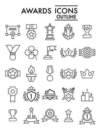 Set of winning, awards vector line simple icons. Contains such icons as laurel branch, reward, achievement and more.