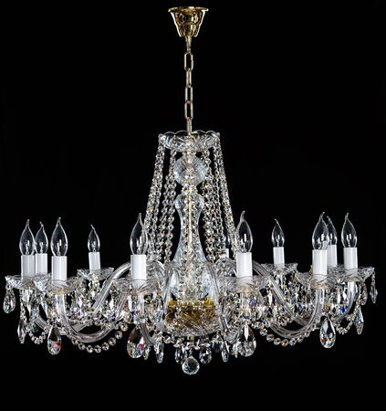 Crystal Chandelier. Group Of Hanging Crystals. Stock Photo, Picture ...