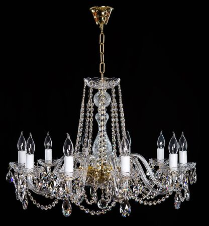 Elegant crystal strass chandelier with ten lamps.