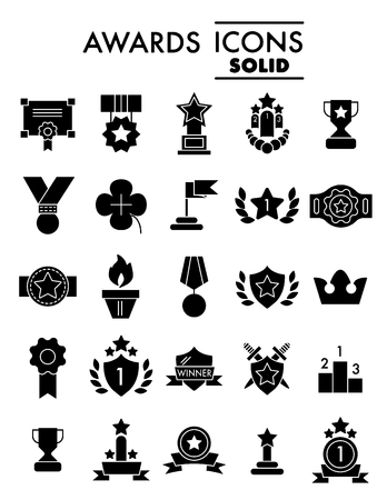 Set of winning, awards vector line simple icons. Contains such Icons as Laurel Branch, Reward, Achievement and more. Flat design. Solid icons on white background.