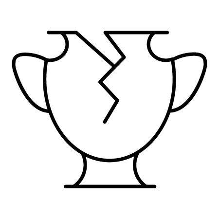 Line icon broken vase. Vector icon isolated on white. Flat and outline design. Eps 10. 矢量图像