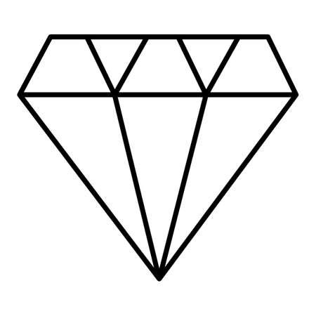 Diamond outline icon, modern minimal flat design style, thin line illustration.