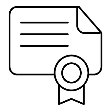 Diploma vector icon suitable for info graphics, websites and print media and interfaces. Certificate icon isolated on white flat outline design. Illustration