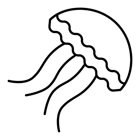 Jellyfish flat vector icon. Single high quality outline symbol of summer for web design or mobile app. Thin line signs of swimming for design, visit card outline icon of diving.